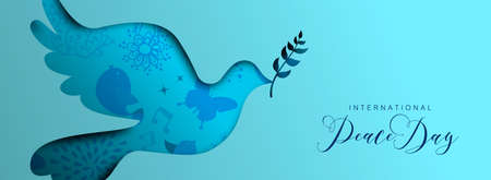 International Peace Day holiday social media banner illustration. Paper cut dove bird shape silhouette cutout with nature doodle decoration background. EPS10 vector. Illustration