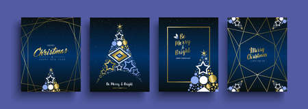 Merry Christmas and Happy New Year luxury greeting card set. Gold holiday collection with pine tree, text quote, xmas ornament decoration. EPS10 vector. Illustration