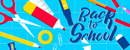 Back to School web banner, colorful classroom supplies on study table. Includes pencil, ruler, eraser, paper clip and more. EPS10 vector.