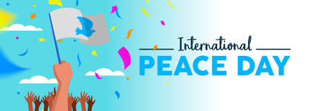 International Peace Day social media web banner, world freedom celebration for everyone. Diverse people hands with white dove flag in pacifist event protest, parade or rally. EPS10 vector.