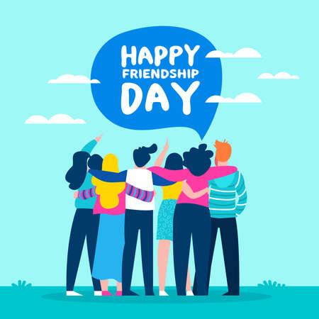 Ilustración de feliz día de la amistad con un grupo de amigos diverso de personas abrazándose para la celebración de eventos especiales. Eps10 vector.