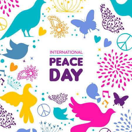 International Peace Day illustration, colorful peaceful icons in hand drawn style with typography quote. Hopeful dove, nature decoration and spring plants background. Illustration