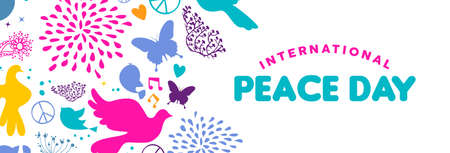 International Peace Day web social media banner illustration, colorful peaceful icons in hand drawn style with typography quote. Dove bird, nature decoration and spring plants background.