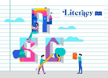 Illustration de la Journée internationale de l'alphabétisation de personnes sur le mur de papier de cahier d'école. Concept d'éducation mondiale pour les enfants. vecteur EPS10.