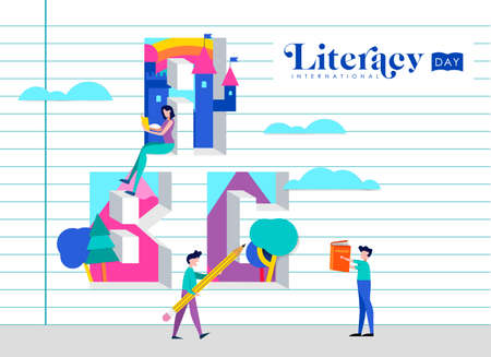 International Literacy Day illustration of people on school notebook paper wall. World education for children concept. EPS10 vector.