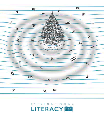 World Literacy Day illustration of alphabet letter water drop on school notebook. Essential education for children concept. EPS10 vector. Foto de archivo - 111794517