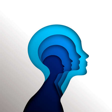 Human heads in paper cut style for psychology, self help concept or mental health, blue woman head cutout illustration. EPS10 vector.