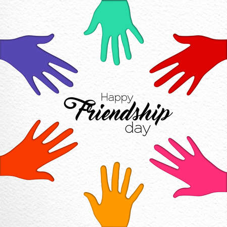 Happy Friendship Day greeting card illustration of friend group hands together in colorful paper cut style with celebration text quote. EPS10 vector.