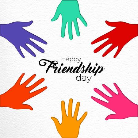 Ilustración de tarjeta de felicitación de feliz día de la amistad de manos de grupo de amigos juntas en estilo de corte de papel colorido con cita de texto de celebración. Eps10 vector. Ilustración de vector