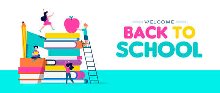 Welcome Back to School web banner illustration, children playing around book pile with pencil, ruler and apple. Kids education concept in colorful style. EPS10 vector.