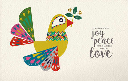 Merry Christmas and Happy New Year folk art greeting card illustration. Colorful dove bird made of traditional Scandinavian decoration on paper texture background. EPS10 vector. Иллюстрация