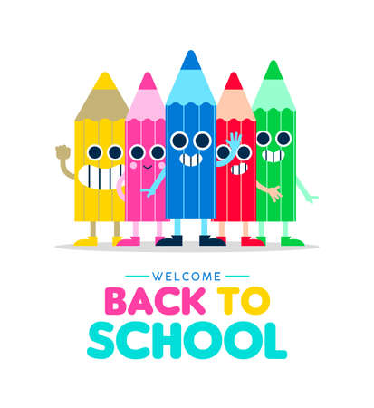 Welcome Back to school illustration with happy color cartoons pencil friends waving hello, children education design. Cute characters in colorful style. EPS10 vector.