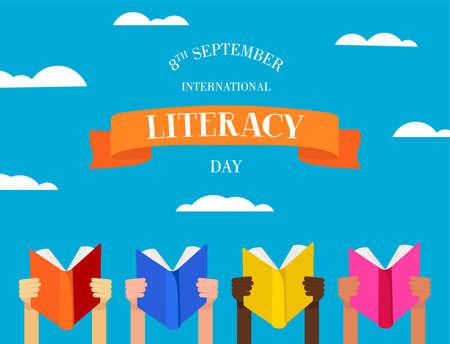 Illustration de la Journée internationale de l'alphabétisation des mains des enfants avec des livres d'éducation et du texte de typographie. vecteur EPS10. Vecteurs
