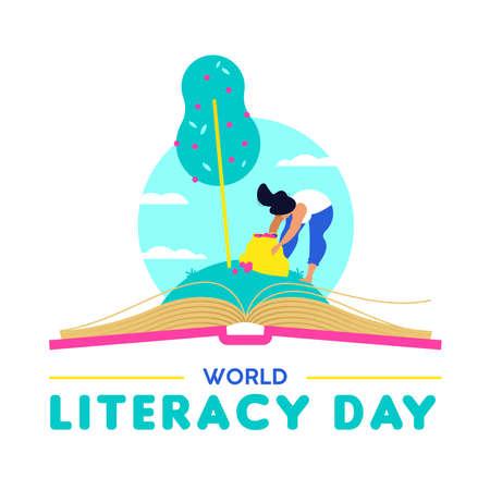 Conception de la Journée mondiale de l'alphabétisation, femme prenant des fruits dans un livre ouvert. Éducation à la lecture pour les enfants et les adultes, Connaissance comme illustration du concept de nourriture de la vie. vecteur EPS10.