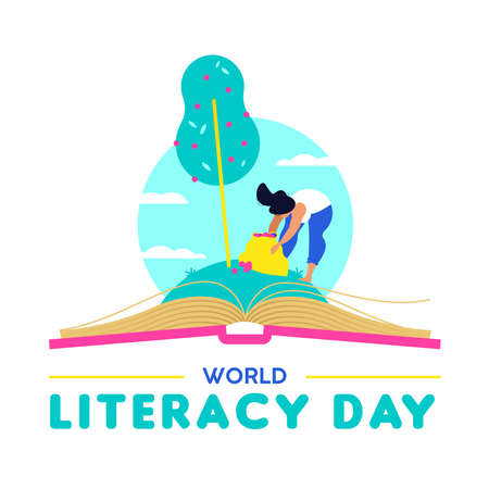 World Literacy Day design, woman taking fruit from open book. Reading education for children and adults, Knowledge as food of life concept illustration. EPS10 vector. Illustration