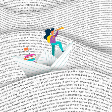 Girl sailing paper boat in sea of words. Education concept for children reading or school project. EPS10 vector. Stockfoto - 106823338