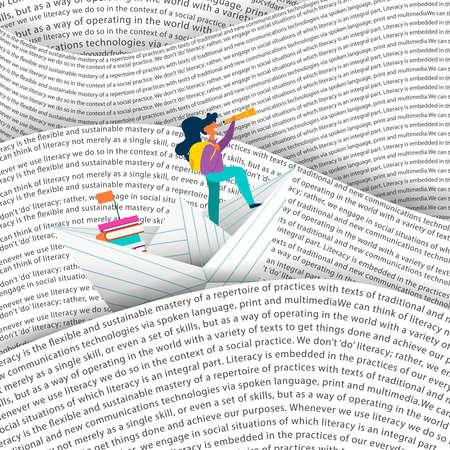 Ragazza che naviga la barca di carta nel mare di parole. Concetto di educazione per bambini che leggono o progetto scolastico. Vettore Eps10.
