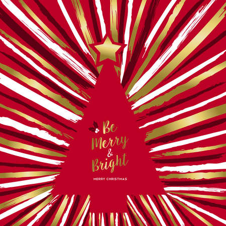 Merry Christmas luxury greeting card design with gold color xmas pine tree made of grunge hand drawn brush strokes on holidays red background. EPS10 vector Иллюстрация