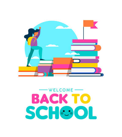 Back to school illustration of kid climbing book mountain. Education success concept with happy girl reaching study goal. EPS10 vector. Banque d'images - 111794530