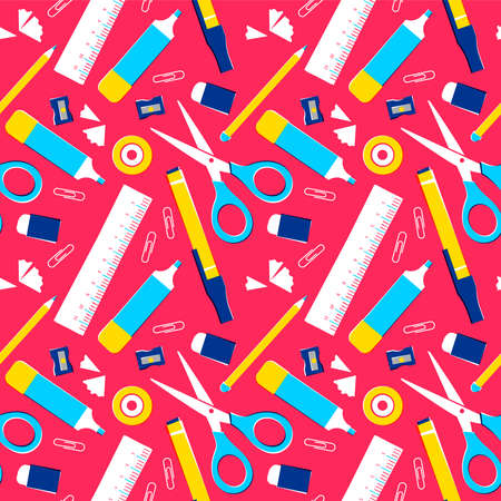 School supplies seamless pattern, colorful classroom equipment background or office space tools. Includes pencil, ruler, eraser, paper clip and more. EPS10 vector.