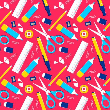 Suministros escolares de patrones sin fisuras, fondo de equipo de aula de colores o herramientas de espacio de oficina. Incluye lápiz, regla, borrador, clip de papel y más. Eps10 vector. Ilustración de vector
