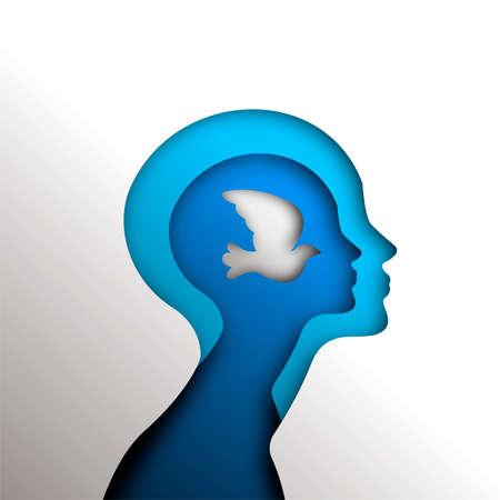 Illustration für Friedens- und Freiheitskonzept in der Psychologie, Papierschnittartkopf mit Taubenvogel innen. Neue Geschäftsidee, religiöses, psychologisches Projekt oder Selbsthilfe-Designhintergrund. EPS10-Vektor.