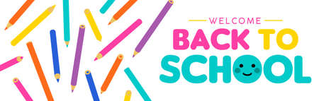 Back to school color pencil web banner, children decoration in vibrant colors. Colorful art supplies illustration with typography text. EPS10 vector.