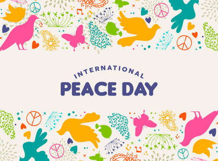International Peace Day illustration, colorful peaceful icons in hand drawn style with typography quote. Hope dove, nature decoration and spring plants background. EPS10 vector.