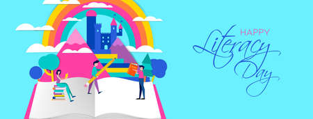 Ilustración de feliz día de la alfabetización, personas con lápices y libros en el paisaje de la imaginación. Diseño de concepto para la educación infantil. Eps10 vector.