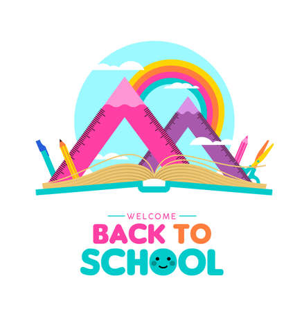 Back to school illustration, open book with mountain landscape made of squad ruler and pencils. Math geometry subject equipment on rainbow sky for education concept.  EPS10 vector.
