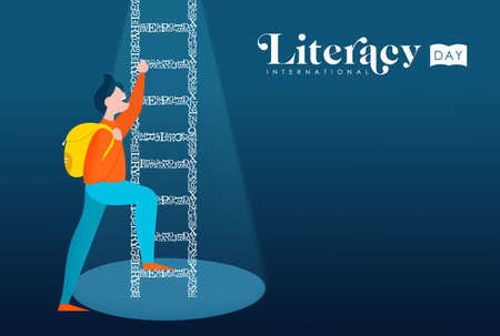International Literacy Day illustration, boy climbing ladder made of alphabet letters for children education concept. EPS10 vector. Banque d'images - 111794537