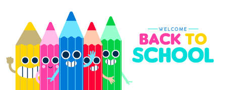 Welcome Back to school web banner illustration with happy color pencil cartoons friends waving hello, children education design. Cute characters in colorful style. EPS10 vector.
