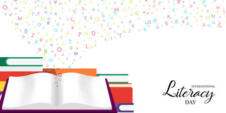 World Literacy Day card illustration of colorful school books for children education and alphabet letters. EPS10 vector. Ilustracje wektorowe