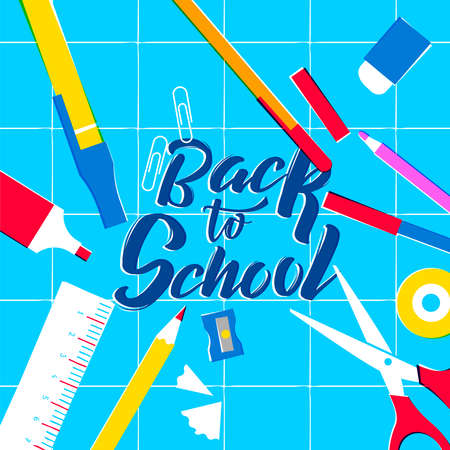 Back to School illustration, colorful classroom supplies on study table. Includes pencil, ruler, eraser, paper clip and more. EPS10 vector. Ilustrace