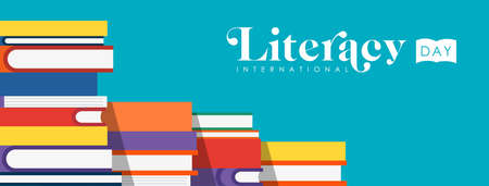 World Literacy Day web banner illustration of colorful school books for children education. EPS10 vector. Illusztráció