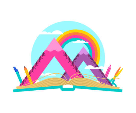 Open book with mountain landscape made of squad ruler and pencils. Math geometry subject equipment on rainbow sky for school learning concept.  EPS10 vector. Illustration