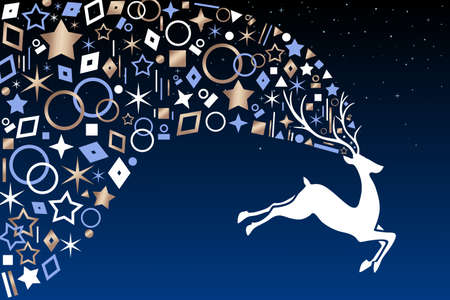 Christmas reindeer jumping on night sky background with metallic copper icon ornament decoration. EPS10 vector.