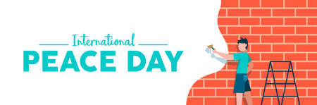 International Peace day web social media banner illustration, peaceful art expression concept. Boy painting brick wall in white color for world children freedom. EPS10 vector.