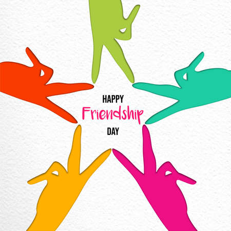 Happy Friendship Day illustration of colorful friend hands doing star shape in paper cutout style. EPS10 vector.
