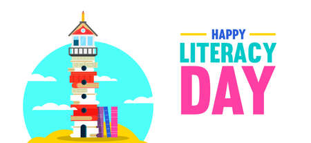 Literacy Day illustration, lighthouse tower made of books on empty island. Education design for kid reading imagination concept. EPS10 vector.