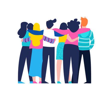 Zróżnicowana grupa przyjaciół, którzy przytulają się razem na specjalne uroczystości. Dziewczęta i chłopcy zespół przytulić na na białym tle z miejsca na kopię. Eps10 wektor. Ilustracje wektorowe