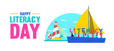 Literacy Day web banner illustration. Kids on boat receive guide from letter lighthouse light. Literate culture in children education as expression of new challenges for people, opportunity concept.