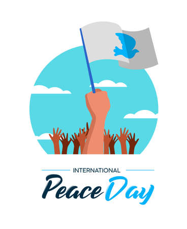 International Peace Day illustration, world freedom celebration for everyone. Group of people hands with white flags and pigeon in special pacifist event protest, parade or rally. EPS10 vector.