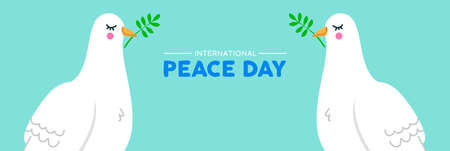 International Peace Day social media web banner illustration of two white dove birds with olive branch. Nonviolence World celebration pigeon symbol in hand drawn style. EPS10 vector.