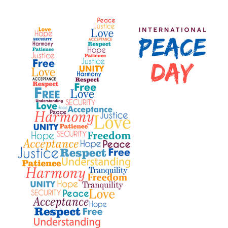 World Peace Day illustration for international freedom and holiday celebration. Hand sign made of peaceful typography quotes. EPS10 vector. Illustration