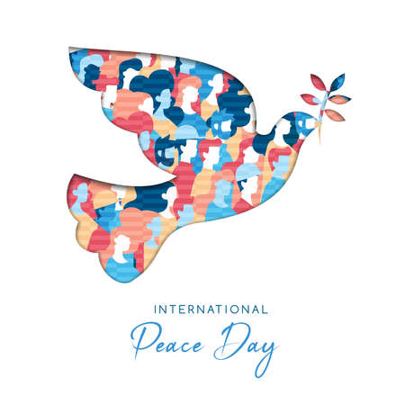 International Peace Day illustration in paper cut style for culture unity around the world. Dove bird cutout with diverse people crowd. EPS10 vector. Vector Illustration
