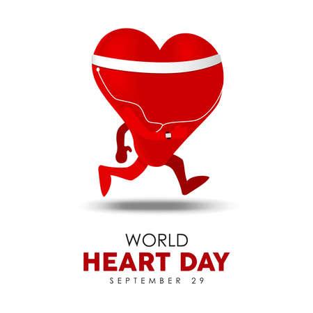 Illustrazione della Giornata mondiale del cuore per uno stile di vita sano e un concetto di esercizio, carattere a forma di cuore rosso in esecuzione. Eps10 vettore.