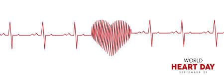 Ilustración de banner web del Día Mundial del Corazón de la línea roja del latido del corazón para concienciar sobre el cuidado de la salud. Eps10 vector.