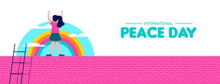 International Peace day web banner illustration, world children freedom concept. Free girl celebrating on rainbow sky background. EPS10 vector.