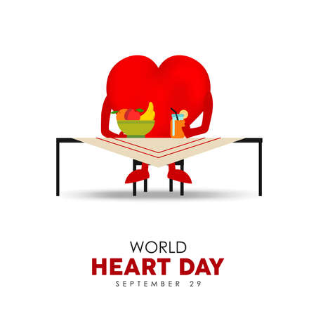 World Heart Day illustration for healthy diet and nutrition concept, red heartshape character eating fruit food. EPS10 vector.